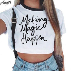 Short Sleeve Cropped Top Cotton T-Shirts - Making Magic Happen