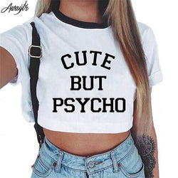 Short Sleeve Cropped Top Cotton T-Shirts - Cute But Psycho