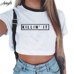 Short Sleeve Cropped Top Cotton T-Shirts - Killing It