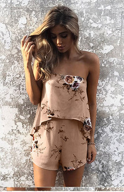 Tan Floral Strapless Romper