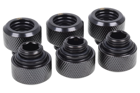 Alphacool Eiszapfen 13mm HardTube compression fitting G1/4 for plexi- brass tubes (rigid or hard tubes) - knurled - deep black - Six Pack