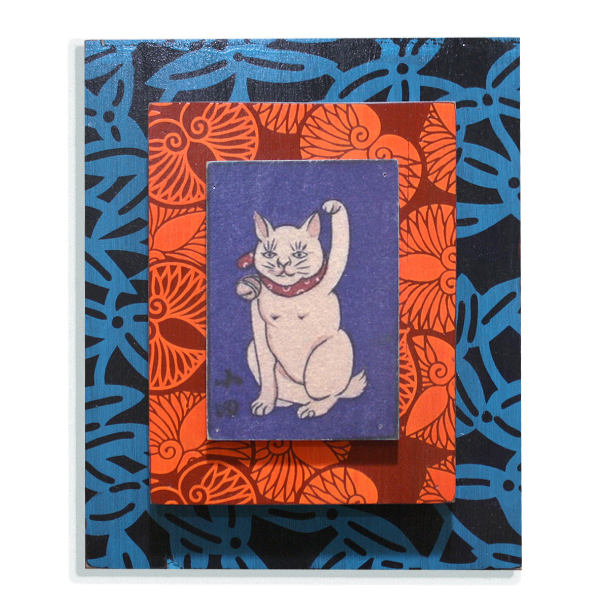 Blue Neko Cat on orange and blue
