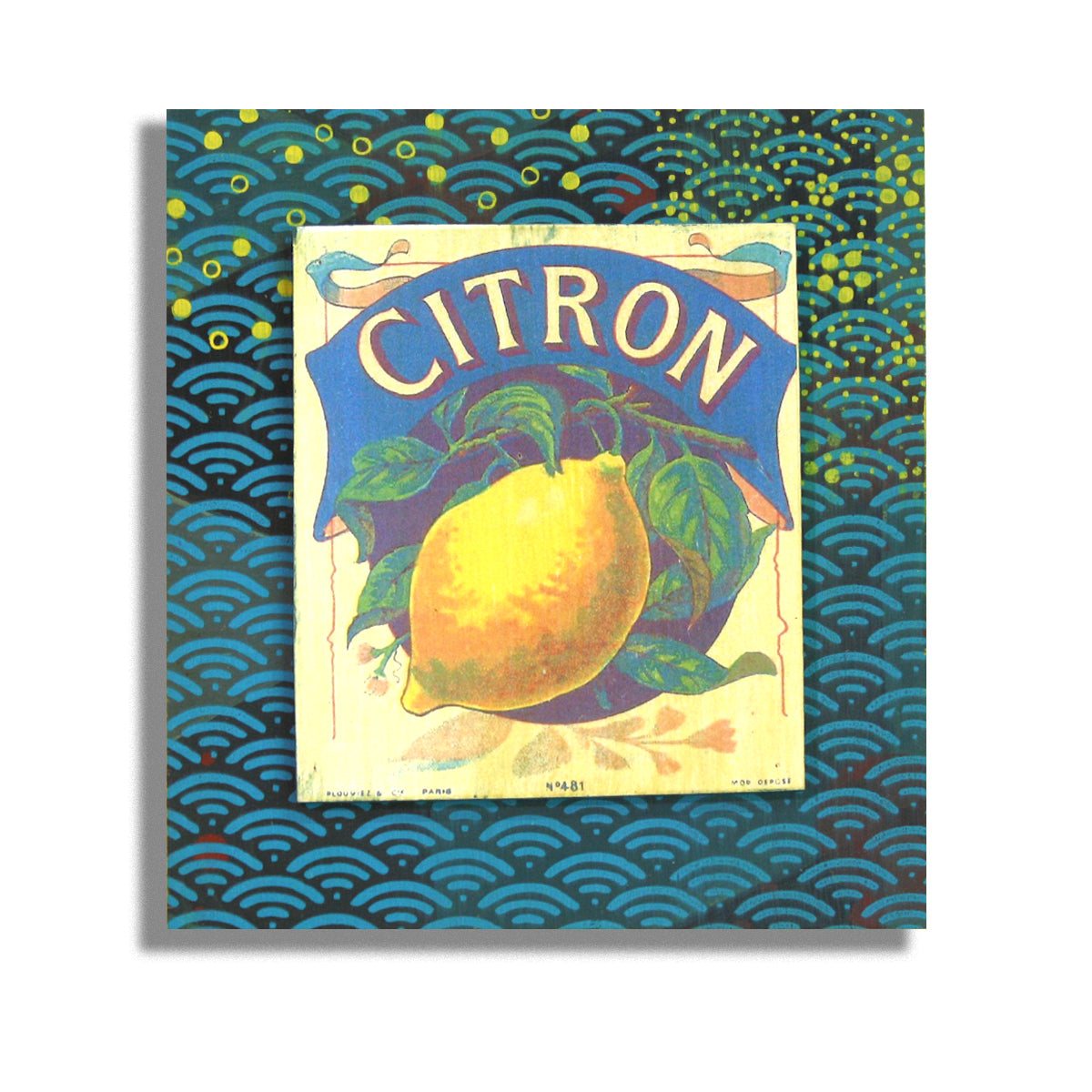 Citron on blue and yellow