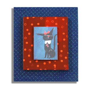 Blue Beret Kitty on blue and red