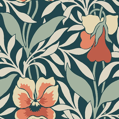 Harriet's Pansy Orange-Hesketh House Liberty Cotton Fabric 04775648Z
