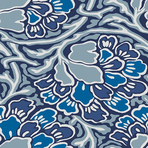 Dianthus Dreams - Blue -Hesketh House Liberty Cotton Fabric 04775649X