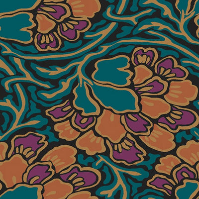 Dianthus Dreams - Orange -Hesketh House Liberty Cotton Fabric 04775649Z