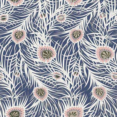 Pipers Peacock - Blue -Hesketh House Liberty Cotton Fabric 04775653X