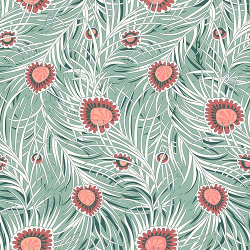Pipers Peacock - Coral -Hesketh House Liberty Cotton Fabric 04775653Y