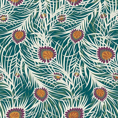 Pipers Peacock - Orange-Hesketh House Liberty Cotton Fabric 04775653Z
