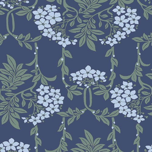 Nouveau Mayflower - Blue -Hesketh House Liberty Cotton Fabric 04775654X