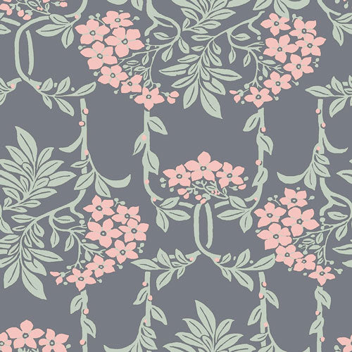 Nouveau Mayflower - Pink -Hesketh House Liberty Cotton Fabric 04775654Y