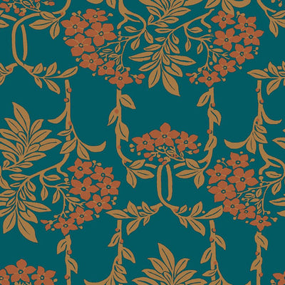 Nouveau Mayflower - Orange -Hesketh House Liberty Cotton Fabric 04775654Z
