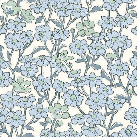 Chiltern Hill - Blue -Hesketh House Liberty Cotton Fabric 04775658X