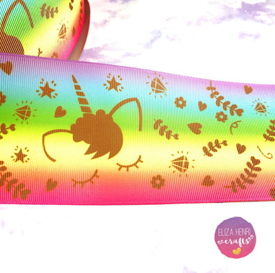 Sleepy Unicorn Swirly Rainbow Grosgrain Ribbon 2'' or 3''