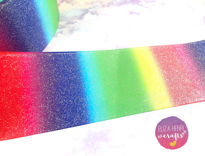 Rainbow Glitter Grosgrain Ribbon 3''