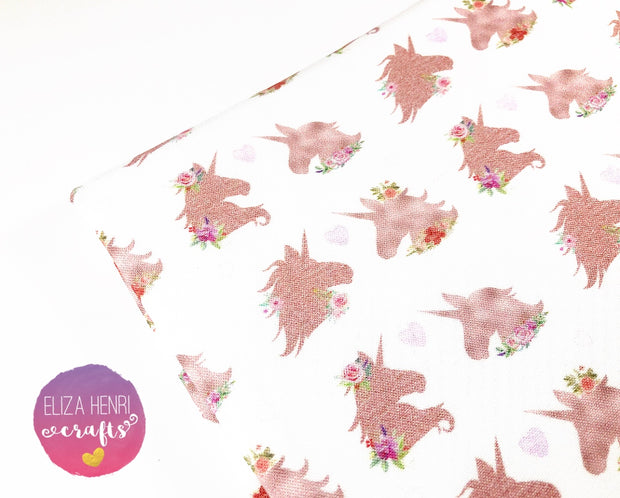 EHC Exclusive Rose Gold Unicorns in love Fabric Felt