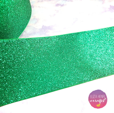 Green Glitter Grosgrain Ribbon 3''