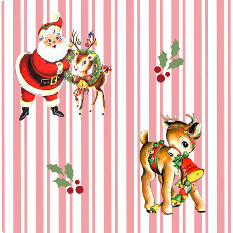EHC Exclusive Candy Stripe Pink Santa & Deer Fabric Felt