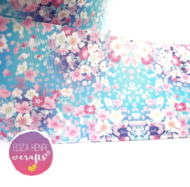 Pale Blue Small Floral Grosgrain Ribbon 2'' or 3''
