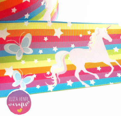 Rainbow Stripe Unicorn Grosgrain Ribbon 2'' or 3''