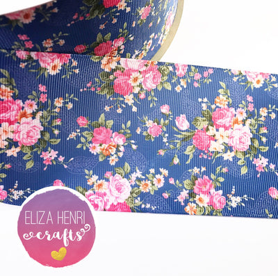 Dark Blue Floral Grosgrain Ribbon 2'' or 3''