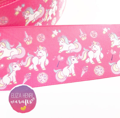 Pink Unicorn Grosgrain Ribbon 2'' or 3''