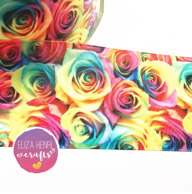 Rainbow Roses Grosgrain Ribbon 2'' or 3''