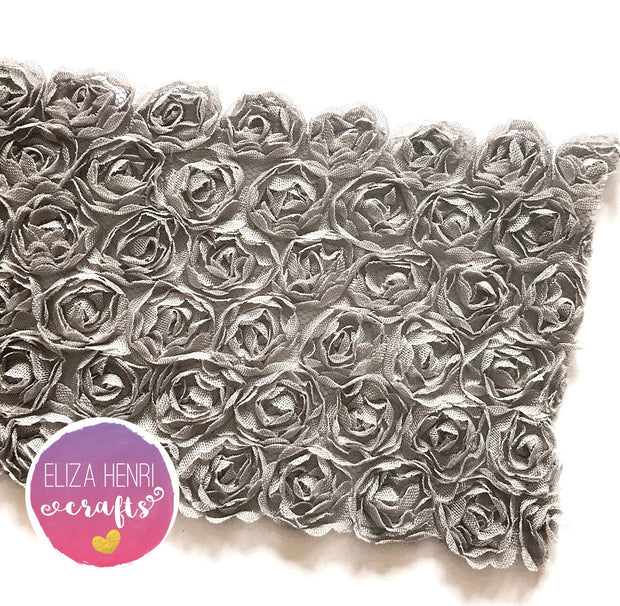 Dusky Grey Rose Flower Lace Fabric