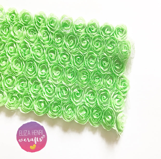 Grass Green Rose Flower Lace Fabric