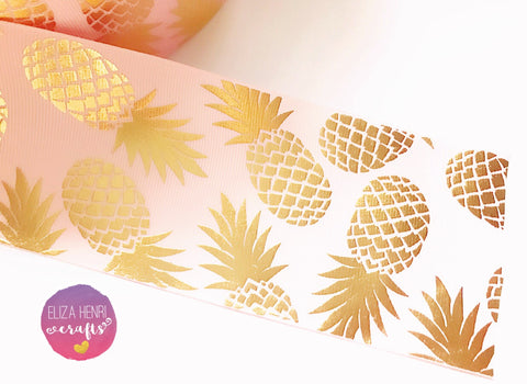 Baby Pink Gold Pineapple Foil Grosgrain Ribbon 3''
