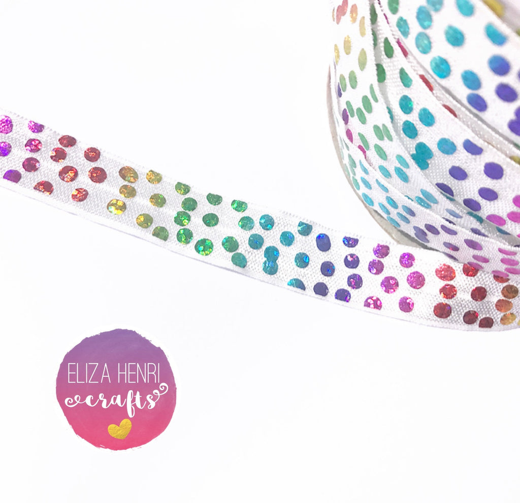 White Rainbow Foil Polka Dot FOE Headband Elastic
