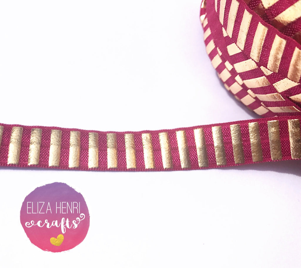 Wine Foil Gold Stripe FOE Headband Elastic