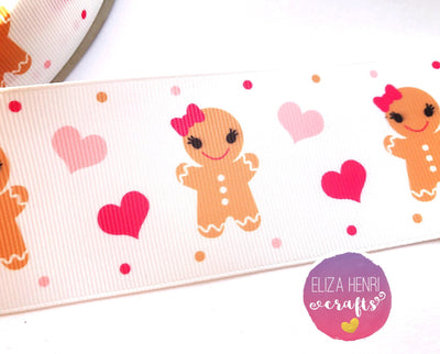 Little Gingerbread Girl Grosgrain Ribbon 25mm, 38mm, 50mm.