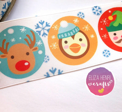 Circle Xmas Characters Grosgrain Ribbon 25mm, 38mm, 50mm.