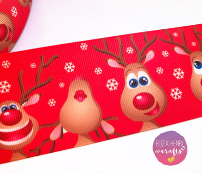 Rudolph Red Grosgrain Ribbon 25mm, 38mm, 50mm.