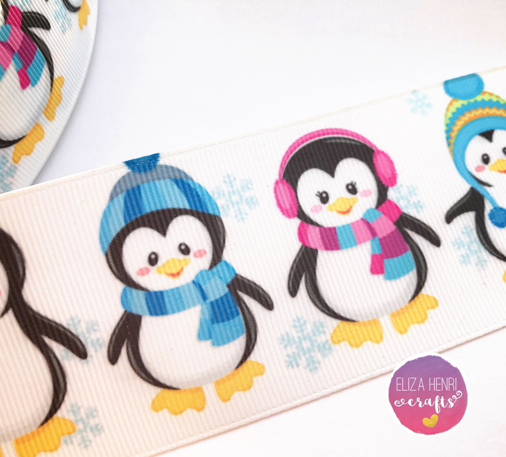 Cute Penguins Grosgrain Ribbon 25mm, 38mm, 50mm.