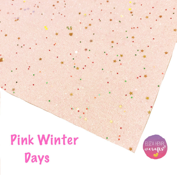 Pink Winter Days Fine Glitter Fabric