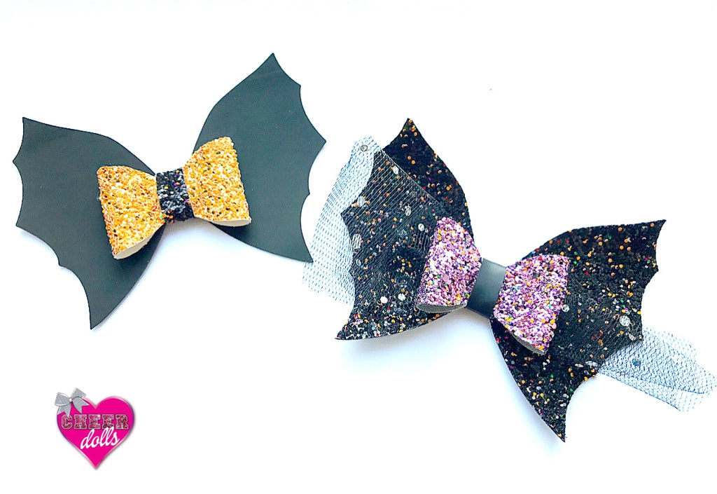 Bat Hair Bow Template  Eliza Henri Crafts  Glitter Fabric  Craft