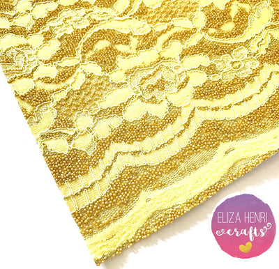 Autumn Mustard Beaded Pattern Glitter Lace Fabric