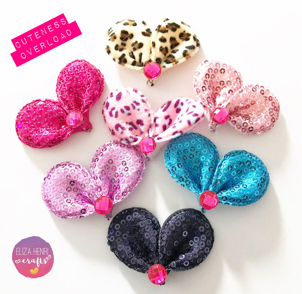 Kawaii Rabbit Mouse Sequin Style Wool Ear Embellishments