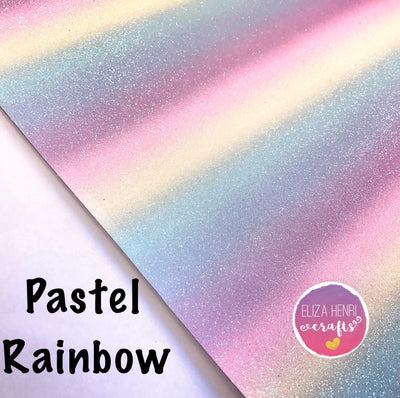 Pastel Rainbow Fine Glitter Fabric - Eliza Henri Craft Supply
