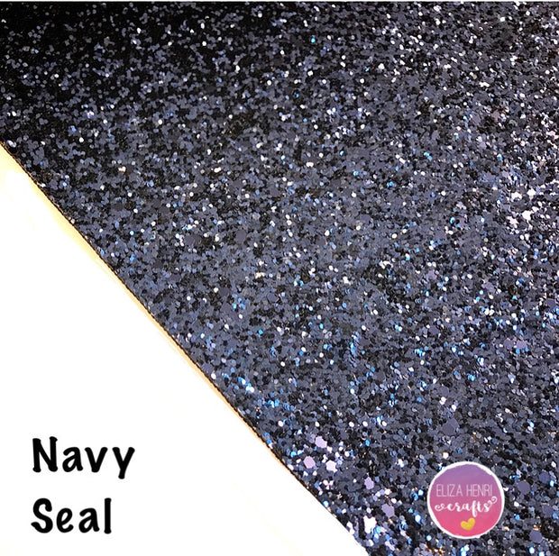 navy blue chunky glitter fabric uk