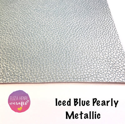 Iced Blue Pearly Metallic Leatherette - Eliza Henri Craft Supply