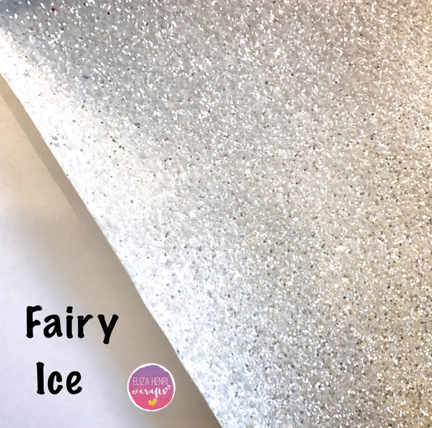 White chunky glitter fabric uk