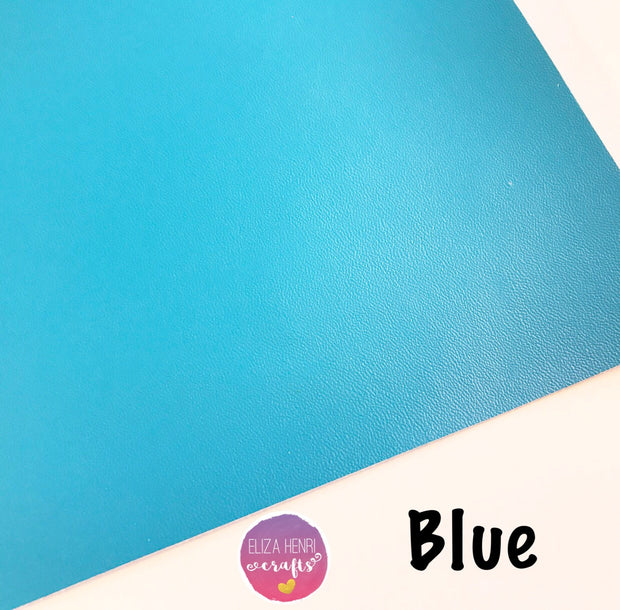 Blue Faux Thin Leather Fabric