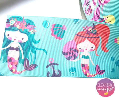 Little Mermaid Girls Grosgrain Ribbon 2'' or 3''