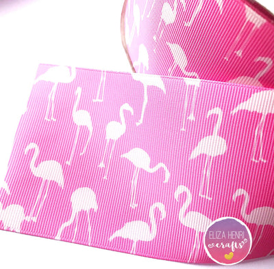 Pink Flamingos Grosgrain Ribbon 2'' or 3''