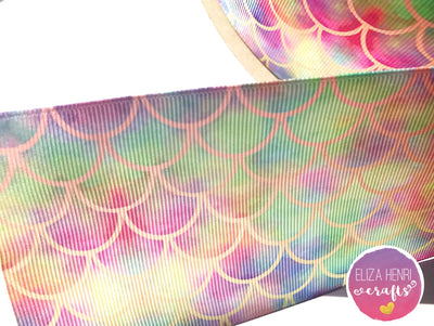 Pastel Rainbow Mermaid Scales Grosgrain Ribbon 2'' or 3''