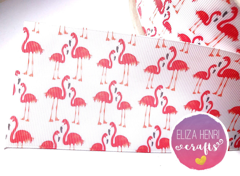 White Flamingo Grosgrain Ribbon 2'' or 3''